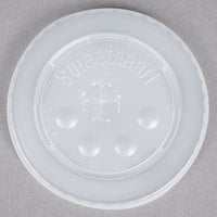 Dart Solo L16BL-0100 12-21 oz. Translucent Flat Plastic Lid with Straw Slot and Identification Buttons - 125 / Pack