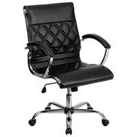 Mid-Back Black Designer Leather Executive Office Chair with Chrome Arms and Foam-Molded Seat