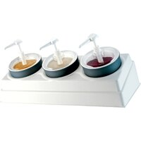 Carlisle CM1069 White 3 Hole Condiment Dispenser Bar Organizer