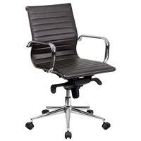 Mid-Back Brown Ribbed Leather Executive Swivel Office Chair with Aluminum Arms and Coat Rack