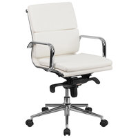 Mid-Back White Leather Executive Swivel Office Chair with Chrome Arms and Coat Rack