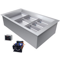 Hatco CWBR-3 Three Pan Slanted Refrigerated Drop-In Cold Food Well with Drain and Remote Condenser - 120V