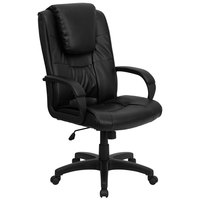 High-Back Black Leather Executive Swivel Office Chair with Oversized Headrest and Nylon Arms