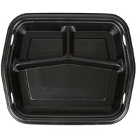 Genpak 50310-3L Smart-Set 8 7/8 inch x 10 5/8 inch Black Rectangular 3-Compartment Foam Serving Tray - 250 / Case