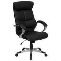 High-Back Black Leather Contemporary Executive Office Chair with Built-In Lumbar Support and Padded Arms