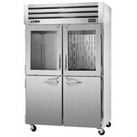 Turbo Air PRO-50R-GSH 52 inch Premiere Specification Series Two Section Reach-In Refrigerator with Solid and Glass Half Doors - 51 Cu. Ft.
