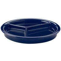 Hall China 31901105 Cobalt Blue 9 1/16 inch x 1 1/8 inch Colorations 3 Compartment Divided Plate - 12/Pack