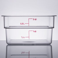 Cambro 2SFSCW135 2 Qt. Clear Square Polycarbonate Food Storage Container with Winter Rose Gradations