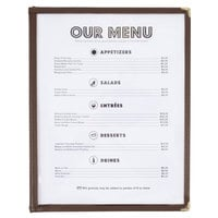 8 1/2 inch x 11 inch Three Pocket Menu Cover - Brown