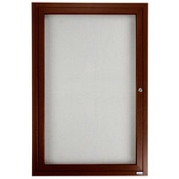 Aarco 36 inch x 24 inch Walnut Finish Lighted Bulletin Board Cabinet