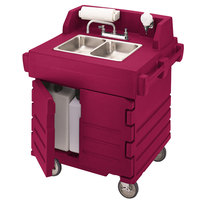 Cambro KSC402158 Hot Red CamKiosk Portable Self-Contained Hand Sink Cart - 110V