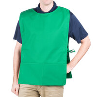 29 inch x 17 1/2 inch Green Poly-Cotton Cobbler Apron with Two Pockets