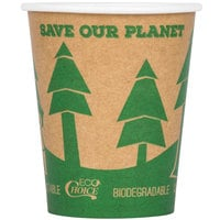 EcoChoice 8 oz. Kraft Compostable and Biodegradable Paper Hot Cup with Tree Design - 1000/Case