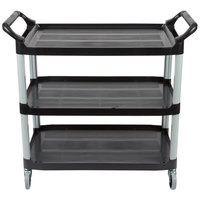 Rubbermaid FG409100BLA Black Three Shelf Utility Cart / Bus Cart 40 inch x 20 inch x 37 inch