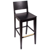 BFM Seating SWB305EB-EB Dover Ebony Colored Beechwood Bar Height Chair with Wooden Seat