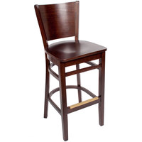 BFM Seating SWB301CW-CW Merion Classic Walnut Colored Beechwood Bar Height Chair with Wooden Seat