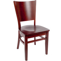 BFM Seating SWC301RM-RM Merion Royal Mahogany Colored Beechwood Side Chair with Wooden Seat