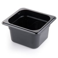 Cambro 64CW110 Camwear 1/6 Size Black Food Pan - 4 inch Deep