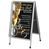 Aarco 24 inch x 36 inch Satin Aluminum Snap Frame A-Frame Sign