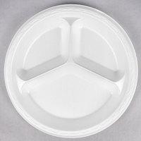Genpak LAM13 Elite 10 1/4 inch White 3 Compartment Laminated Foam Plate - 125/Pack
