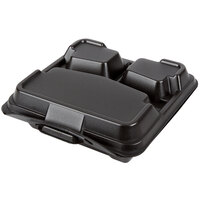 Genpak 203CO-BLK 9 1/4 inch x 9 1/4 inch x 3 inch Black Large 3-Compartment Closed Off Foam Hinged Lid Container - 100 / Pack