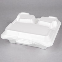 Genpak 203CO-WHT 9 1/4 inch x 9 1/4 inch x 3 inch White Large 3-Compartment Closed Off Foam Hinged Lid Container - 100 / Pack