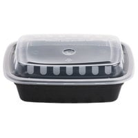 Choice 12 oz. Black 6 inch x 4 3/4 inch x 1 3/4 inch Rectangular Microwavable Container with Lid - 150/Case