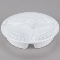 Choice 33 oz. White 9 inch Round 3-Compartment Microwavable Heavyweight Container with Lid - 150/Case