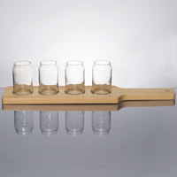 Libbey Can Glass Taster Flight - 4 Glass Set with Natural Wood Paddle