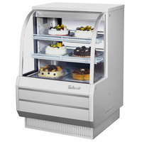 Turbo Air TCGB-36-DR White 36 1/2 inch Curved Glass Dry Bakery Display Case - 10.9 Cu. Ft.