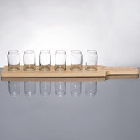 Libbey Can Glass Taster Flight - 6 Glass Set with Natural Wood Paddle