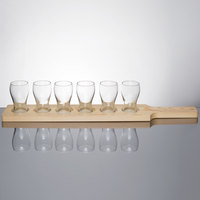 Libbey Mini Pub Glass Beer Flight - 6 Glass Set with Natural Wood Paddle