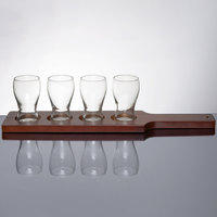 Libbey Mini Pub Glass Beer Flight - 4 Glass Set with Red Brown Paddle