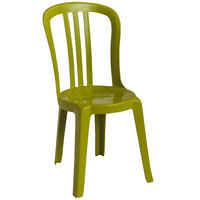 Grosfillex Miami Bistro Fern Green Outdoor Stacking Resin Sidechair