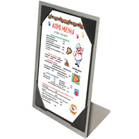 Menu Solutions MTPIX-46 Aluminum Menu Tent with Picture Corners - Brushed Finish - 4 inch x 6 inch