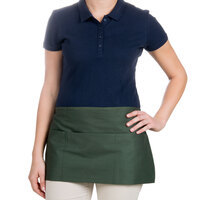 24 inch x 12 inch Hunter Green Front of the House Waist Apron with Three Pockets
