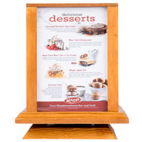 Menu Solutions WTS-4S7-OAK 5 inch x 7 inch Oak Four Sided Rotating Wood Table Tent