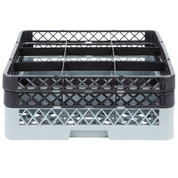 Noble Products 9-Compartment Gray Full-Size Glass Rack / Decanter Rack with 2 Black Extenders - 19 3/8 inch x 19 3/8 inch x 7 1/4 inch