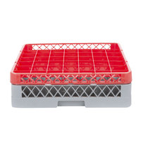 Noble Products 49-Compartment Gray Full-Size Glass Rack with 1 Red Extender - 19 3/8 inch x 19 3/8 inch x 5 3/4 inch