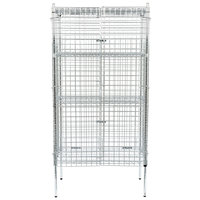 Regency NSF Stationary Chrome Wire Security Cage Kit - 24 inch x 36 inch x 74 inch