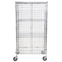 Regency NSF Mobile Chrome Wire Security Cage Kit - 18 inch x 36 inch x 69 inch