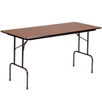 Correll CFS3072M 30 inch x 72 inch Walnut Melamine Folding Table - 36 inch Bar Height