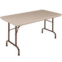 Correll R3060-24 30 inch x 60 inch Mocha Granite Blow-Molded Plastic Heavy-Duty Folding Table