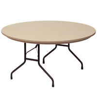 Correll R60-24 60 inch Round Mocha Granite Blow-Molded Plastic Heavy-Duty Folding Table