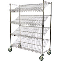 Eagle Group M1848C-4 48 inch x 18 inch Chrome 4 Shelf Angled Merchandising Cart