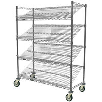 Eagle Group M1860V-4 60 inch x 18 inch Valu-Master Gray 4 Shelf Angled Merchandising Cart