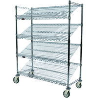 Eagle Group M1836Z-4 36 inch x 18 inch EAGLEbrite Zinc 4 Shelf Angled Merchandising Cart