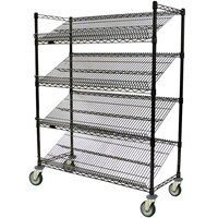 Eagle Group M1848BL-4 48 inch x 18 inch Black 4 Shelf Angled Merchandising Cart