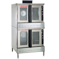 Blodgett DFG-200-ES Premium Series Double Deck Full Size Bakery Depth Gas Convection Oven with Draft Diverter - 100,000 BTU