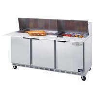 Beverage-Air SPE72-08C 72 inch Three Door Refrigerated Salad / Sandwich Prep Table with Cutting Top